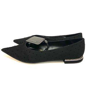 6 Zara pointed diamond heel polka dot lace flats